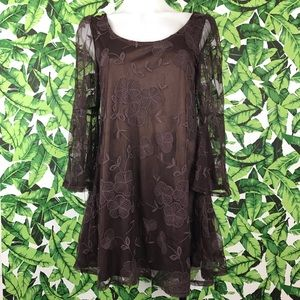 Millay Brown Lace Bell Sleeve Open Back Mini Dress